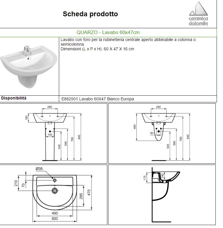 Ceramica Dolomite Schede Tecniche.Lavabo Quarzo 60x47 Dol Carrieristore Carrieri Store