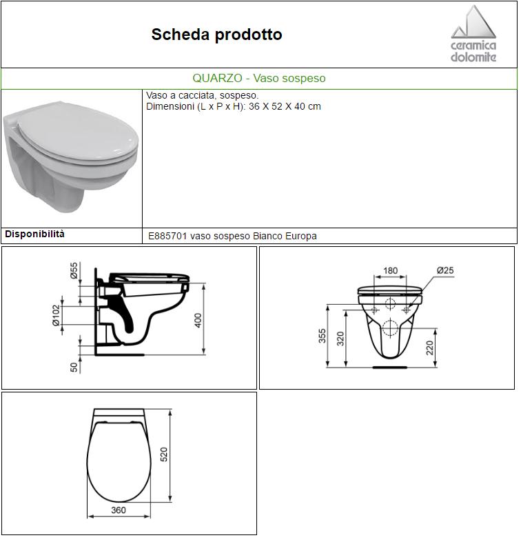 Ceramica Dolomite Schede Tecniche.Vaso Quarzo Sospeso 52x36 Dol Carrieristore Carrieri Store